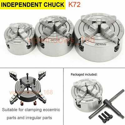 Independent&Reversible Lathe Chuck 4-jaw Metal Chuck Plain Back Precision CNC