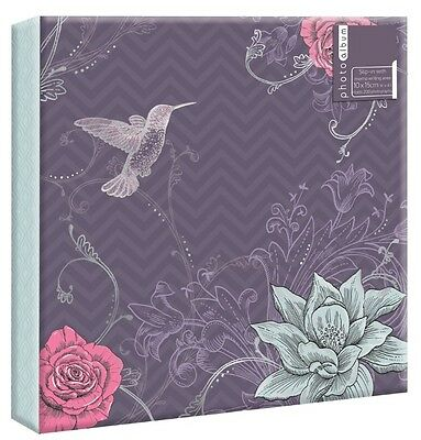 "Purple Vintage Large 6"" x 4'' 200 Photos Slipin Photo Album with Memo Area"