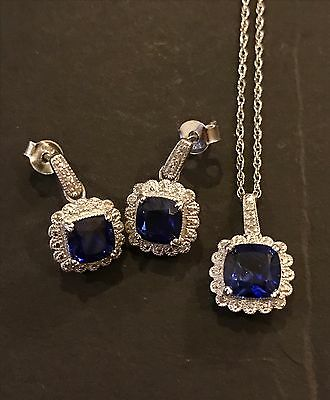 Womens new diamond and sapphire necklace earrings set Sterling silver 925