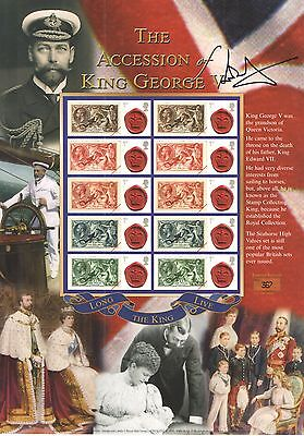 BC-274 2010 Accession of King George V Autographed Business Smilers Sheet