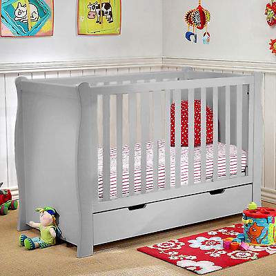 New 4Baby Grey Sleigh Baby Cot Bed With Storage Drawer & Sprung Deluxe Mattress