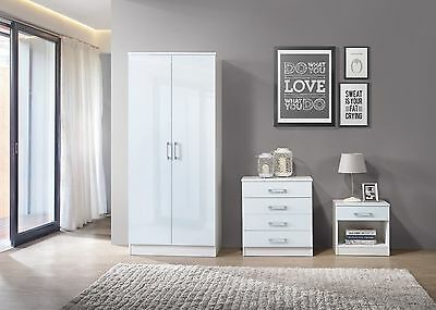 NEW Nuevo White High Gloss Wardrobe Chest Bedside 3 Piece Bedroom Furniture Set