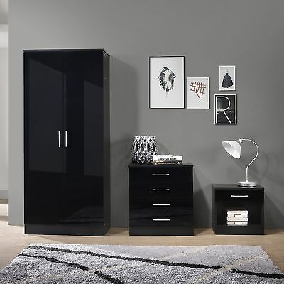 Nuevo Black High Gloss 3 Pc Bedroom Furniture Set Wardrobe Chest Bedside