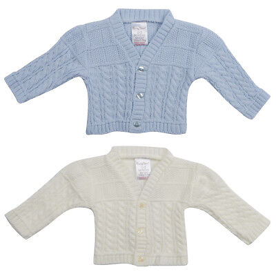 Baby Babies Boys Cable Knit Cardigan Knitted Button Up Knitwear NB-6m BABYTOWN