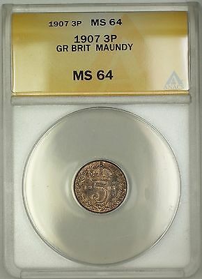1907 Great Britain King Edward VII Maundy 3P Three Pence Silver Coin ANACS MS-64