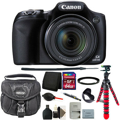 Canon PowerShot SX530 HS 16MP With 50x Zoom WiFi Digital Camera + 64GB Kit