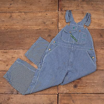 Womens Vintage Key Striped Blue Denim Dungarees / Overalls M 34 X 24 R4232
