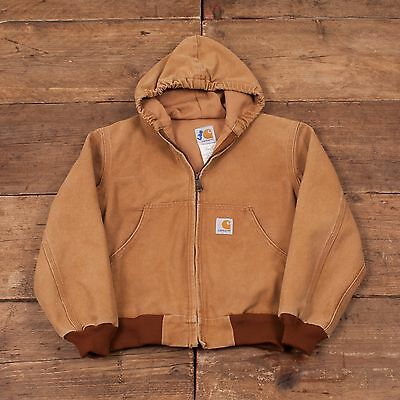 Boys Vintage Carhartt Workwear Chore Jacket Coat Duck Size Medium R4364