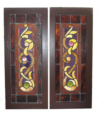 Pair Antique Victorian Stained Windows Granite Glass and Jewels