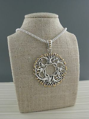 Round Sterling Silver Celtic Tree of Life Pendant 18K accents KEITH JACK Jewelry
