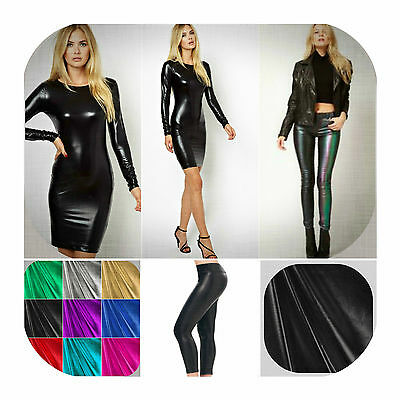 """Metallic Foil Fabric 4 Way Stretch 60"""" Wide Polyester Spandex Sold By The Yard"""