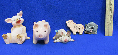 Pig Lot Pink Candle 2 Magnets Oinking Out & 2 Resin Figurines 5 Pcs.
