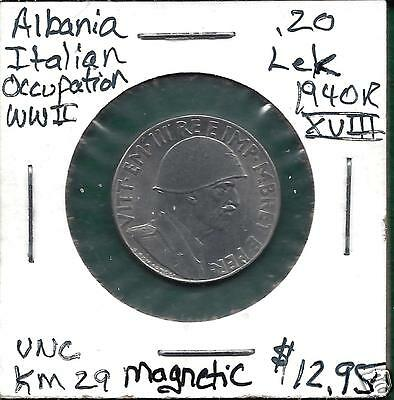 Albania/Italian Occupation KM29 1940 R 20 Lek Uncirculated