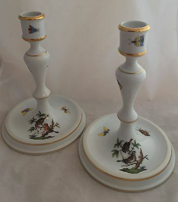 Vintage Herend Hungary Porcelain Rothschild Bird Candlestick Candle Holder Pair