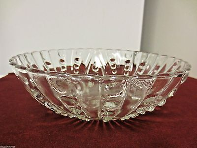 "Vintage Anchor Hocking Pearl & Oyster Bubble 3-Toed Clear 8 1/2"" Bowl"