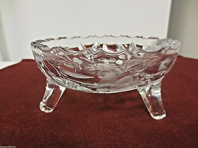 """Older Cut and Etched Clear Glass 3-Toed 5 1/4"""" Bowl-Floral and Leaf Pattern"""