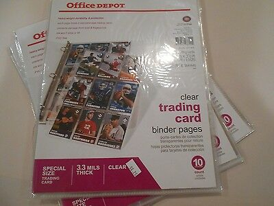 Clear Baseball Card Binder Pages 3 Packs (FREE SHIPPING)