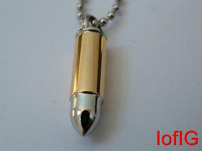 Mens Pendant Ultimate Army Style Silver & Gold Bullet S/Steel Necklace Chain