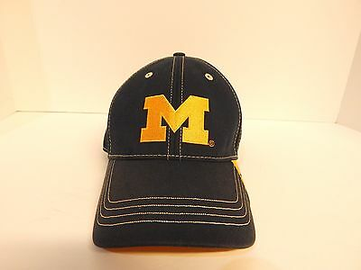 sports shoes 59a96 41ba0 Michigan Wolverines NCAA Embroidered M Hat Cap Big Ten University Gold  Stitching