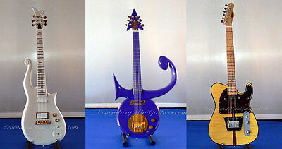 Prince Purple Sign, White Cloud & Mad Cat Mini Guitar Set with 3 FREE Key Chains