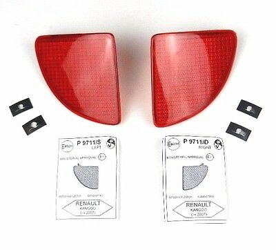 Ranault Kango 1998-2002 Rear Bumper Reflector Set Light Lens Pair Left + Right