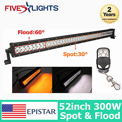 52Inch 300W Dual Color Amber/White Led Remote Control Light Bar Offroad Truck 30