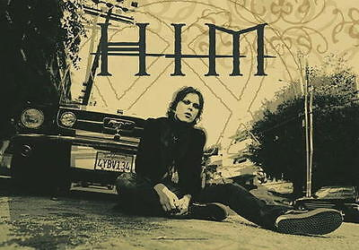 RARE HIM Ville Valo Sitting Mustang Sepia Cloth Fabric Poster Flag Banner-New!!!