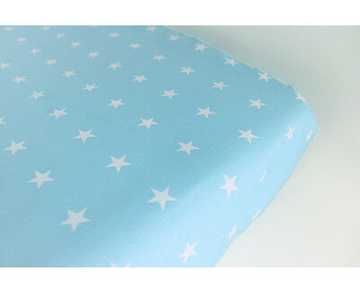 GOOSEBERRY Fitted Change Mat Pad Table Cover Cotton Blue Stars