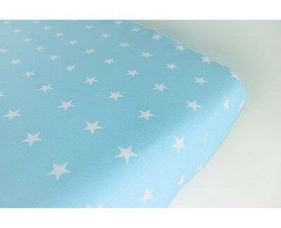 GOOSEBERRY Fitted Change Table Mat Pad Cover Cotton Blue Stars