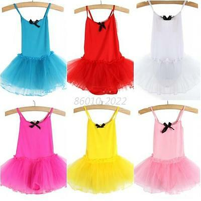 New Kid Girl Gymnastics Training Ballet Dance Bowknot Tutu Dress Skate Dancewear