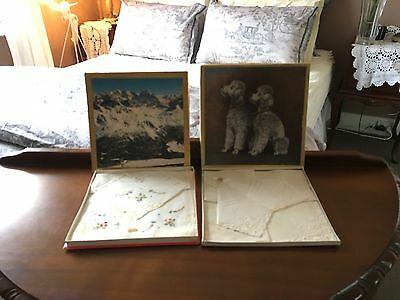2 Old Boxed Sets Of Hankies Poodles & Swiss Alps Swiss Cotton Ect