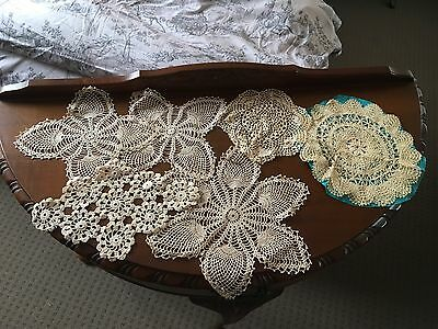 Lot Of 7pc Hand Done Lace Doilies Or Set Ect Vintage Bobbin