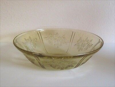 Sharon Cabbage Rose Amber/Yellow Lg. Berry Bowl Federal Depression Glass