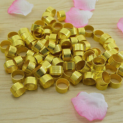 Great 10x Gold Size Ring Stitch Finger Thimble Sewing DIY Craft Tool 1.8cm