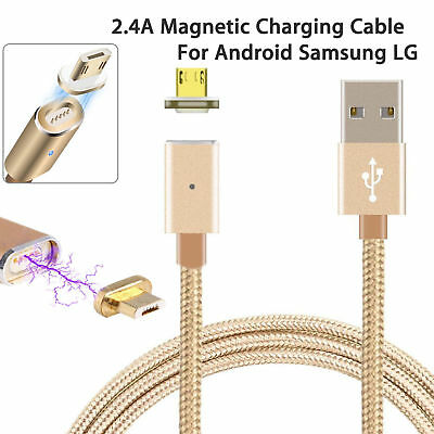 2.4A Magnetic Adapter Charger Micro USB Charging Cable for Android Samsung LG
