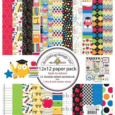 Doodlebug 129332 Paper Pack 12X12 School NEW