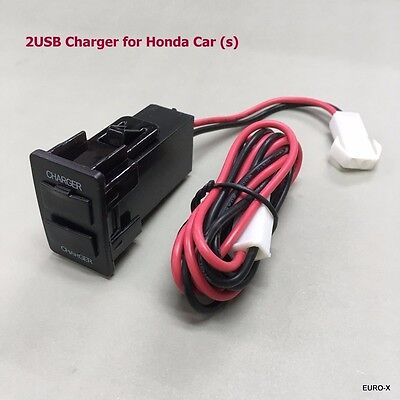 Dual USB Built-in Dashboard Charger Output 5V 2A- 3A for New Honda(s) 2015 #Mgtc