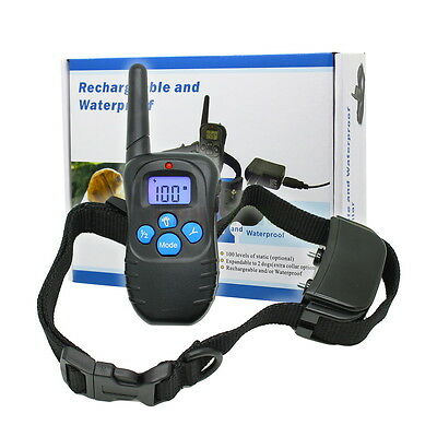 Rechargeable Electric Pet Collar 100LV Shock Vibra Remote Dog Training Collar