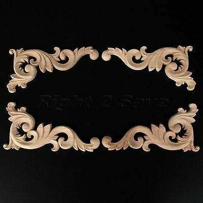Elegant European Art Wood Carved Corner Onlay Applique Furniture Cabinet Decor