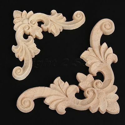 Elegant European Style Wood Carved Corner Onlay Applique Furniture Craft Decor