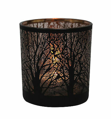 Table Tech Forest Glass Votive Candle Holder Black Copper Tealight Decor Gift