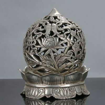 Old Chinese Tibet Silver Handwork Circular Incense Burners P339