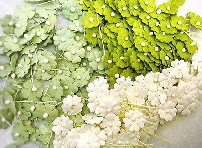 100 Mixed Tone Green &white Flower mulberry paper for Craft & D.I.Y(Size 10 mm)