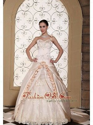 One Shoulder Champagne Ball Gown/Wedding Dress Satin and Lace Size 8