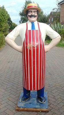 Vintage Advertising Large 6 Foot Fiberglass Figure Of A Butcher