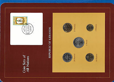 Coin Sets of All Nations Lebanon 1975 - 1981 UNC 50 Piastres 1980 1 Pound 1981