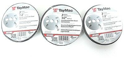 Lot Of 3 New Taymac Lv330S Round Lampholder Cover 3 Hole 1/2In Gray