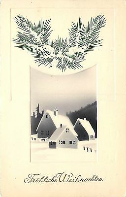 c1913 German Art Deco Airbrush Christmas Postcard Snowy Village Weihnachten