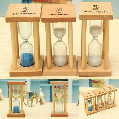 New 1/3/5Min Wood Wooden Frame Sand Sandglass Hourglass Clock Timer Home Decor