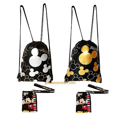 Disney Mickey Mouse Drawstring Backpacks  & Mickey Mouse Black Lanyards 4 pack